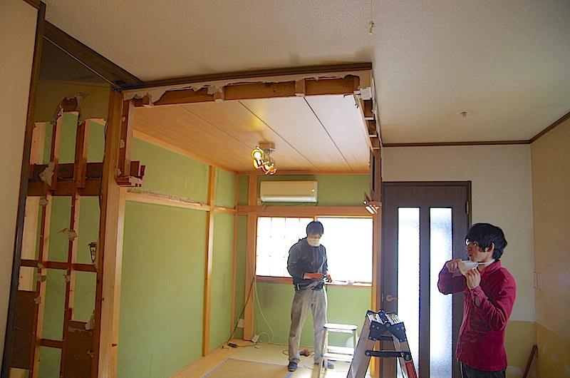 垂れ壁撤去後の部屋