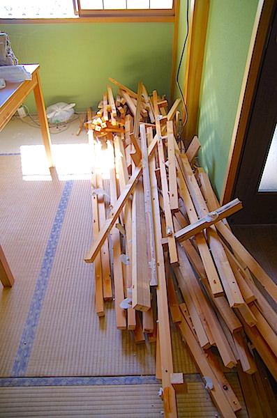 天井解体で出た木材の量
