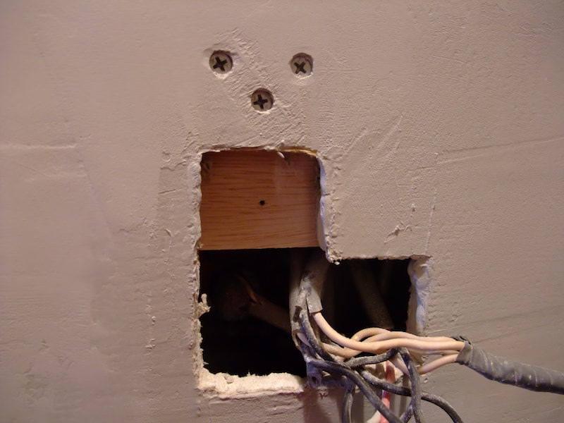 薄ベニヤを壁の裏に固定