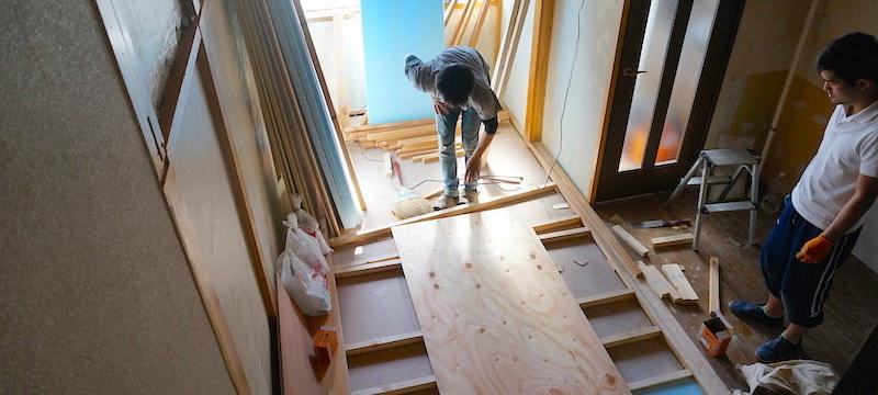 畳からフローリングの下地作り